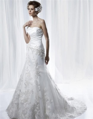 www.balllily.com $289 White A Line Strapless Lace Satin Anjolique  Wedding Dress  AWD006