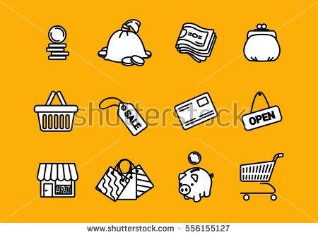 Vector business shopping  icons set on orange background.