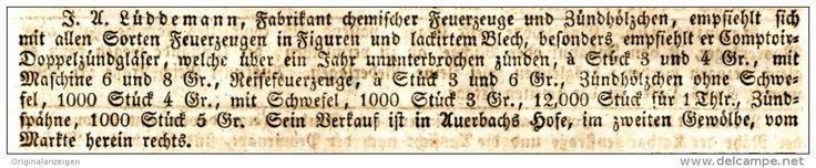 Original-Werbung/ Anzeige 1831 - JUBILATEMESSE LEIPZIG / FEUERZEUGE / LÜBBEMANN -AUERBACHS HOFE LEIPZIG -ca. 130 x 25 mm