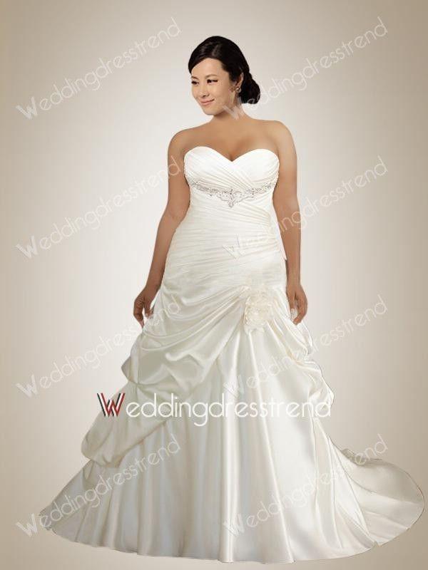 Fabulous Sweetheart Beaded Plus Size Wedding Dress with Pick-ups
