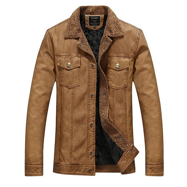 Mens PU Leather Multi Pockets Thick Warm Jackets Motorcycle Fashion Turn-down Collar Business Coat