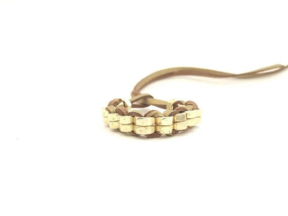 Hardware bracelet Brass hex nut Gold leather cord Minimalist contemporary jewelry Contemporary cuff Modern bracelet gift for her HEXNUTSMADE