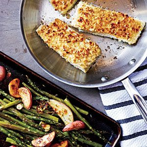 Hazelnut-Crusted Halibut with Roasted Asparagus | MyRecipes.com #myplate #protein #vegetables