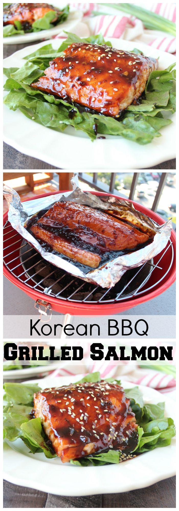 Homemade Korean BBQ sauce covered salmon recipe grilled on @worldmarket's new Mini BBQ!