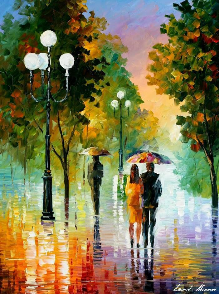 EVENING STROLL UNDER THE RAIN — PALETTE KNIFE Oil Painting On Canvas
