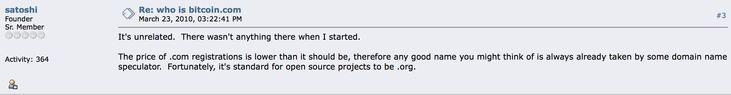 Satoshi Nakamoto's official stance on the Bitcoin.com fraud