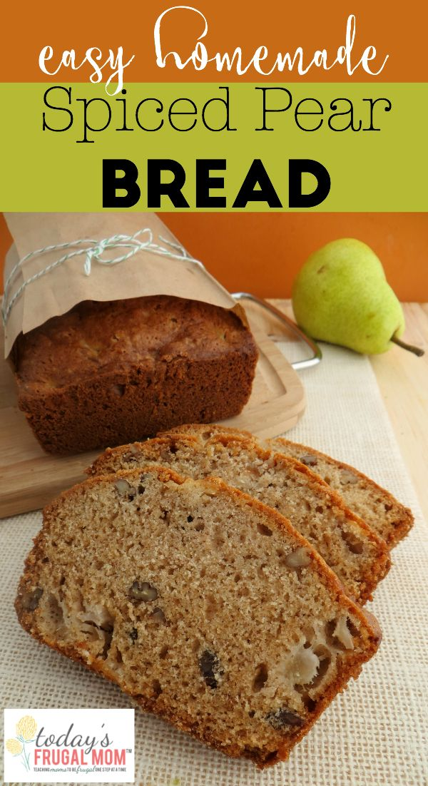 Make this tasty spiced pear bread for your next family breakfast! :: TodaysFrugalMom.com
