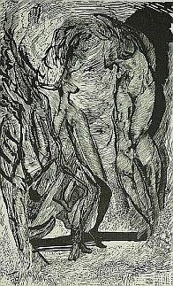 Kuszenie, linoryt, linocut by Leszek Gesiorski