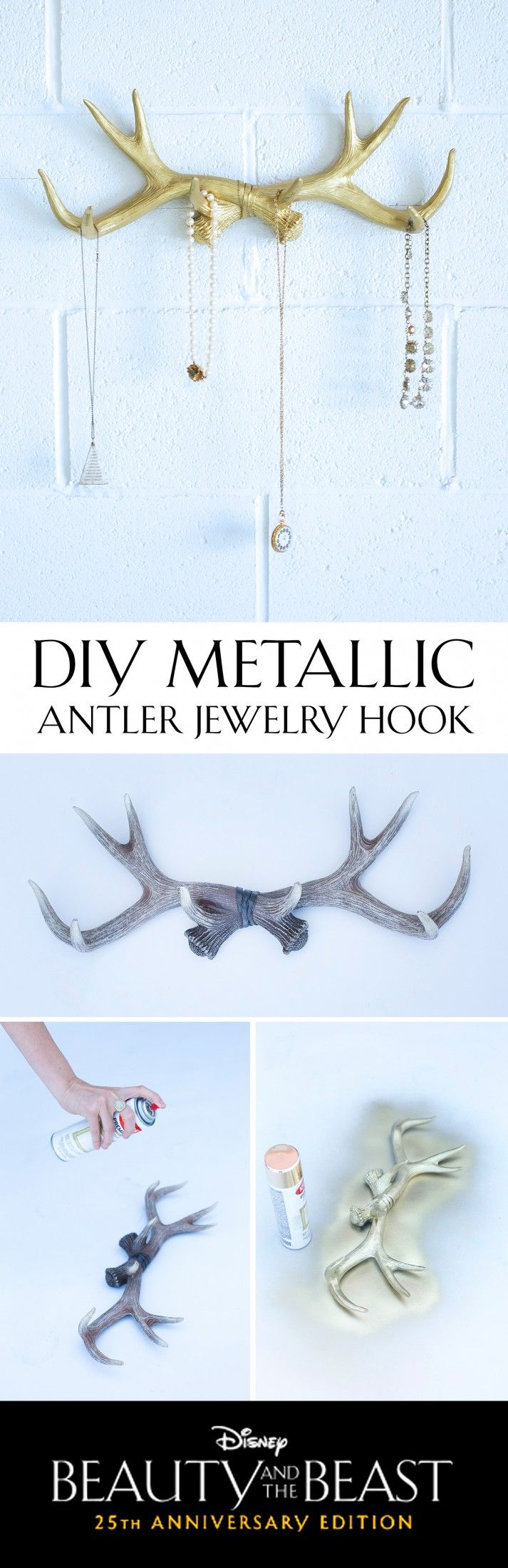 [ad] Refurbish rustic antlers to create a feminine jewelry hook for your home.