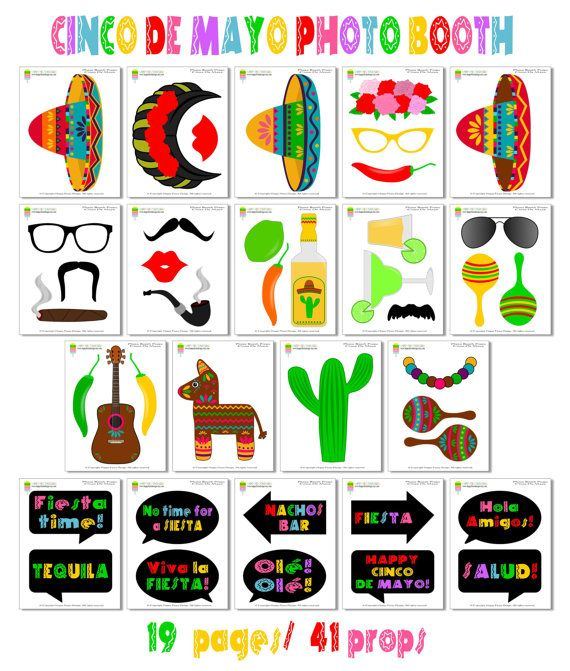 Instant download - DIY printable Cinco De Mayo - Mexican Fiesta photo booth props. Set of 42 pieces: 31 props, 10 speech bubbles, 1 Fiesta