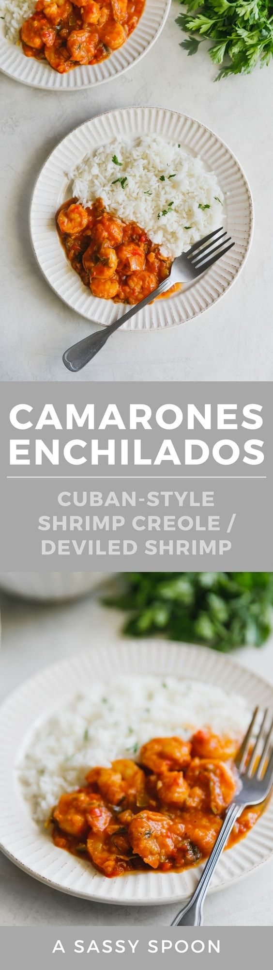 Spicy, saucy, fragrant Cuban-style deviled shrimp (or shrimp creole, or camarones enchilados) served over rice! Perfect for special occasions or weeknight meals! via @asassyspoon