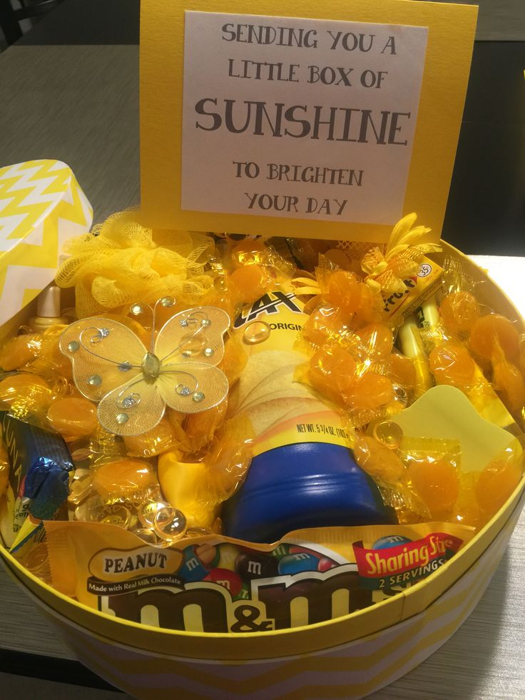 Sunshine Box Send someone a box of sunshine full of all things yellow to brighten their day.