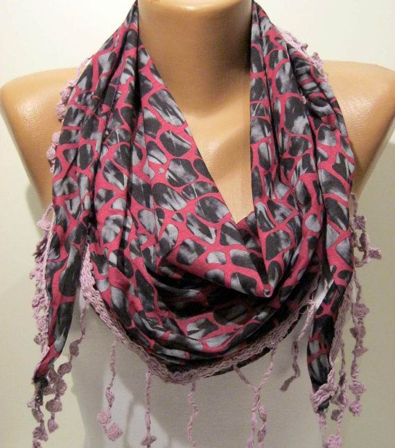 Pink  Leopard and Elegance Shawl / Scarf  with Lace by SwedishShop, $15.90