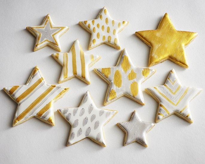 Gold Silver Metallic Star Painted Sugar Cookies How To | @thecakegirls