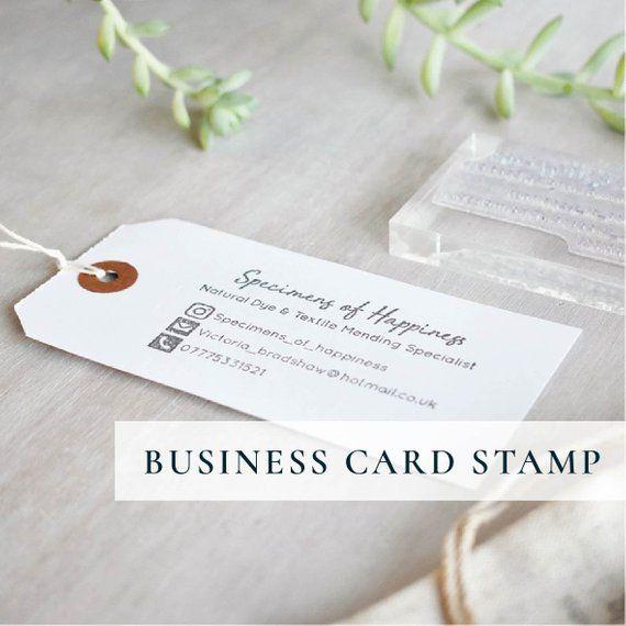 Custom Business Card Stamp Hand Stamped Logo And Social Etsy Custom Business Cards Business Stamps Stamped Business Cards