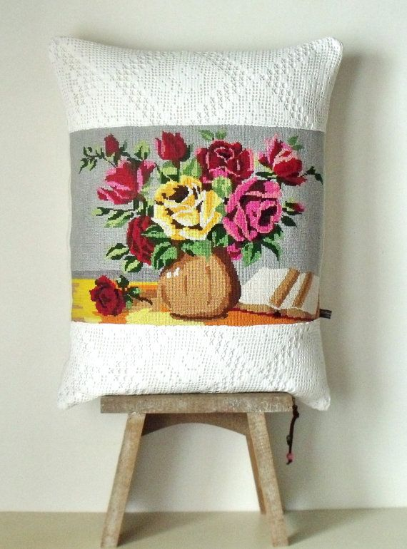 Vintage French Large Tapestry Needlepoint Floral Vase Crochet Panels Pillow Cushion Cover