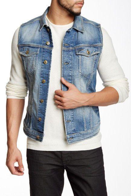 Diesel Men's Faded-Blue Wash 'Jinka' Denim Jean Vest Jacket Size Medium $198…