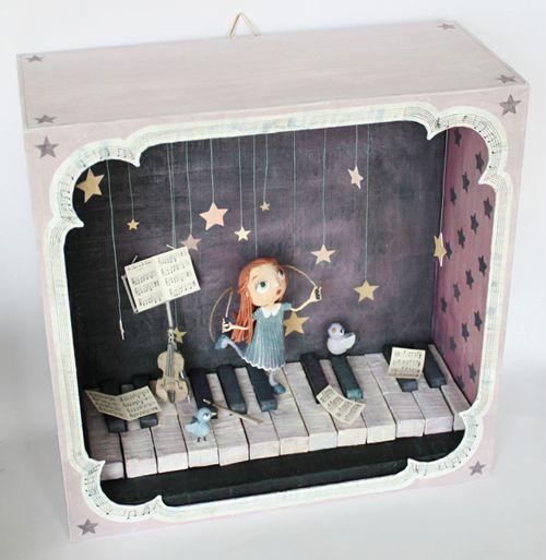 Shadow box diorama: I love the idea of hanging stars!