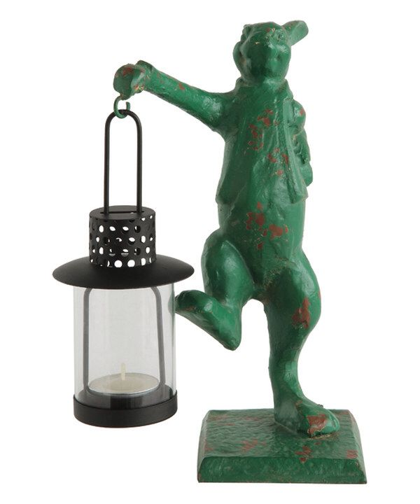 Look at this Green Distressed Cast Iron Rabbit Lantern on #zulily today!