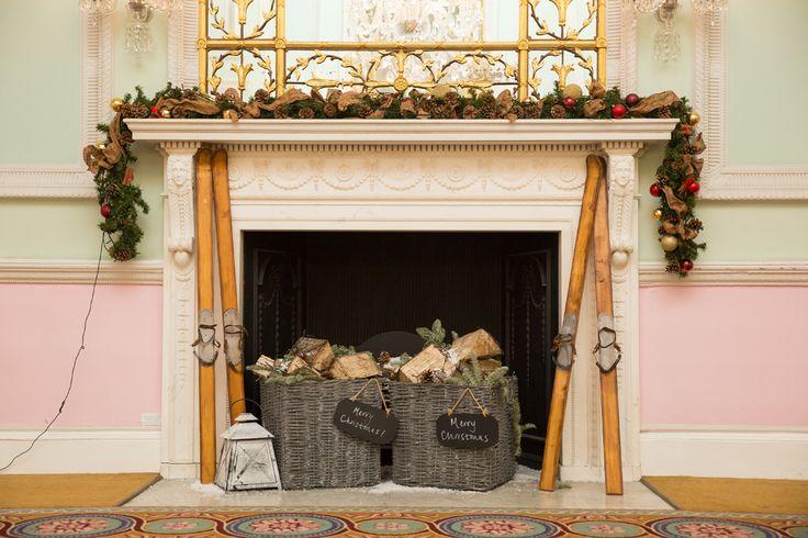 Our Christmas Wedding Chandos House, London. Christmas themed fireplace