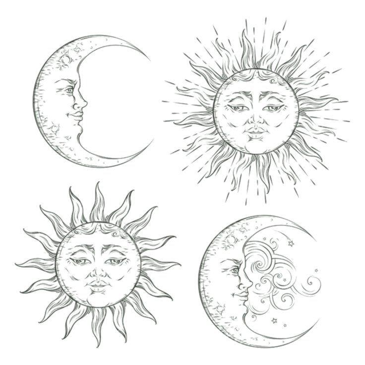 Boho Flash Tattoo Design Hand Drawn Art Sun And Crescent Moon Set Antique Style Antique Art Hand Art Drawing Flash Tattoo Designs Moon Tattoo Designs