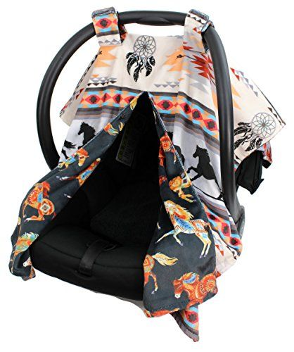 Dear Baby Gear Deluxe Reversible Car Seat Canopy Custom Minky Print Southwestern Tribal Horses >>> Want to know more, click on the image.-It is an affiliate link to Amazon. #BabyCarSeat