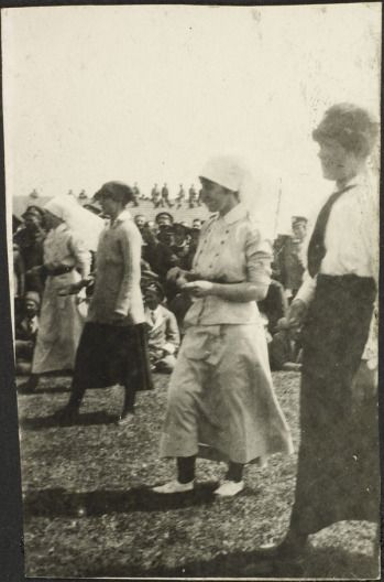 Nursing Sisters compete in an egg and spoon race. (Dominion Day - July 1, 1917). #WW1
