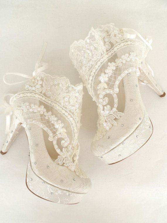 Wedding Shoes Something Blue Bridal Embroidered Ivory Lace Booties With Rhinestones