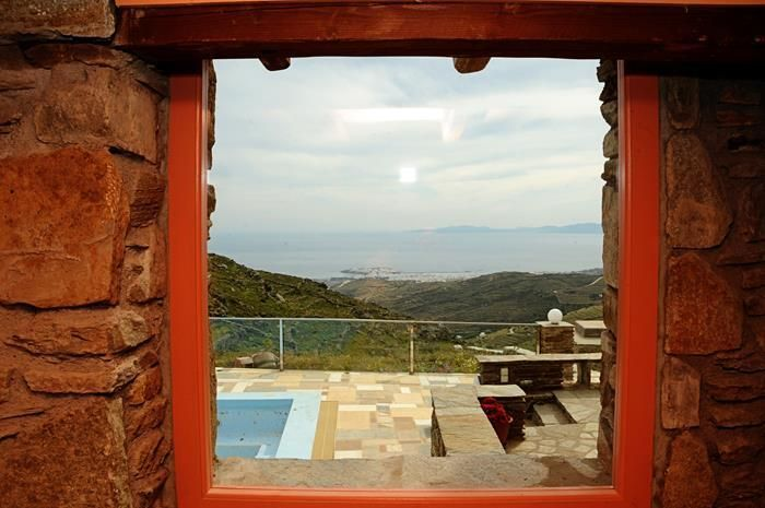 The Orange House has a wonderful #view in the #Aegean sea and the town of Tinos http://www.tinos-habitart.gr/orange-house.php