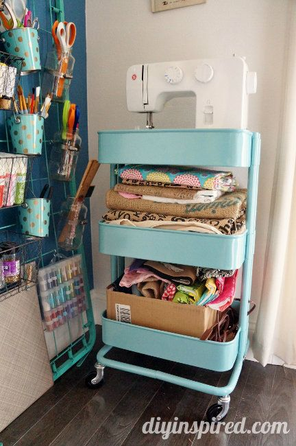 We can't all have rooms devoted to our hobbies, but the cute cart turns any corner into a place to sew. Feeling hack-y? Flip the top bin to ensure a flat, steady surface for your machine. See more at DIY Inspired »  - GoodHousekeeping.com