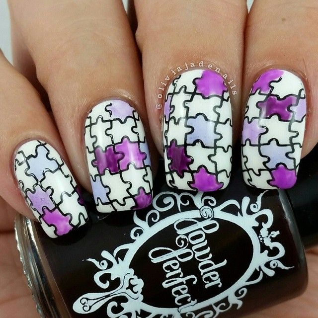 Next up for #randomnailartapr is puzzles. Polishes used are from #opi, #powderperfect,... | Use Instagram online! Websta is the Best Instagram Web Viewer!