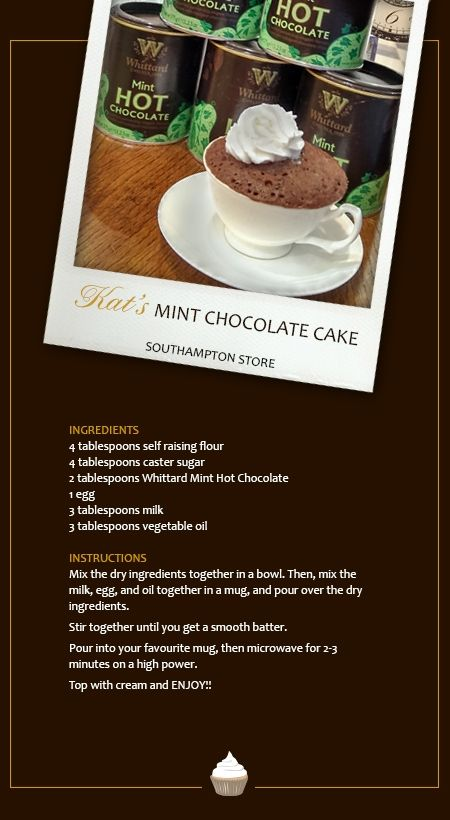 Kat (from our Southampton Store) Mint Chocolate cake in a teacup, made with our delicious Mint Hot Chocolate.