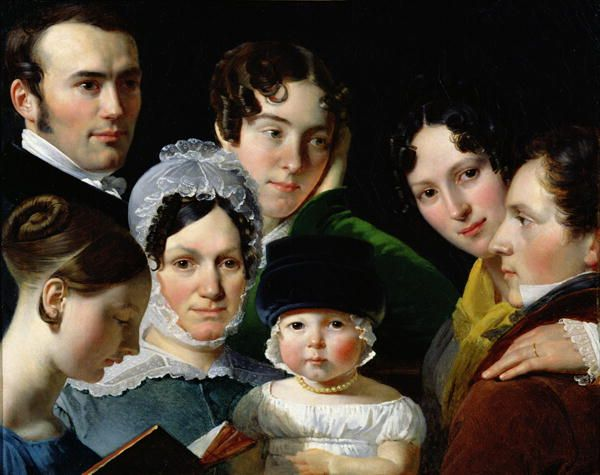 Dubufe family in 1820 by Claude-Marie Dubufe, with the artist at the right, now in the Louvre. The child in the middle (his son, Édouard) also became a painter Claude-Marie-Paul Dubufe (1790 – 1864) a French historical, genre and portrait painter, was born in Paris in 1790, and studied under J.L. David