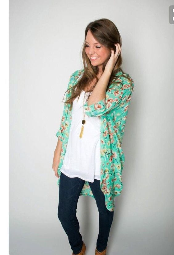 2017 Spring & Summer fashion! Take the stress out of shopping for clothes & ask your Stitch Fix stylist to send you items like these. Delivered right to your door! #stitchfix #Sponsored white tank, kimono cardi, skinny jeans.