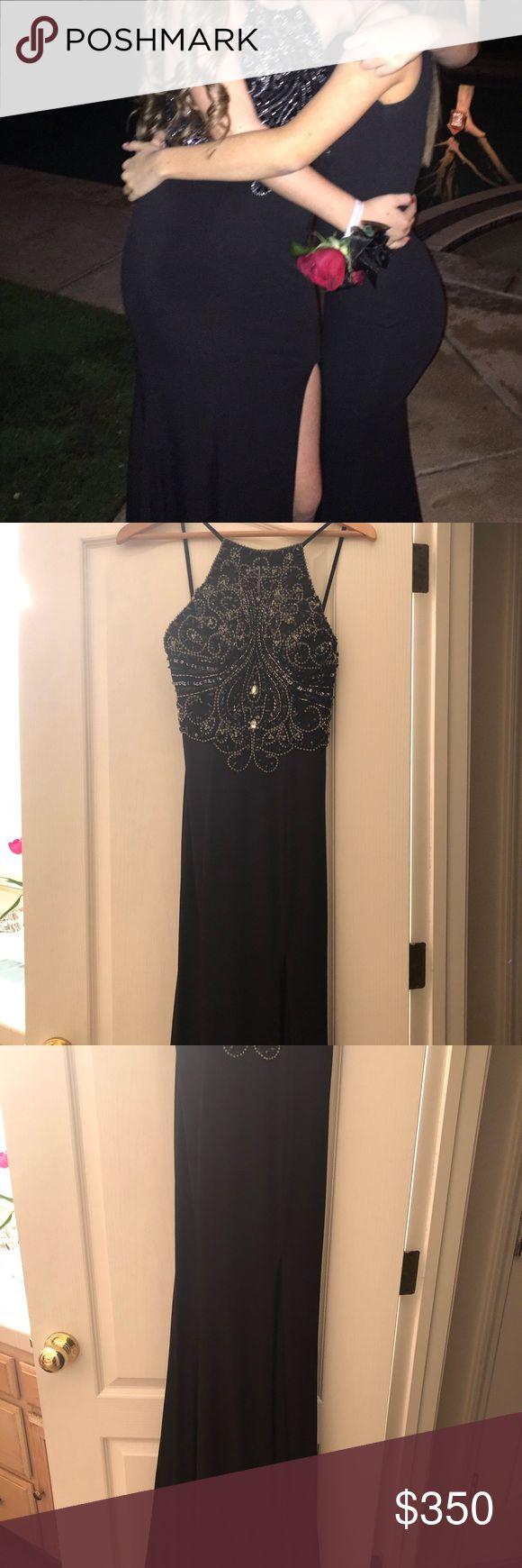 JOVANI Long Black sequin dress JOVANI Long Black sequin dress. Only worn one time. Low back and a slit detail. Flexible on price. Make me an offer! :) Jovani Dresses Prom