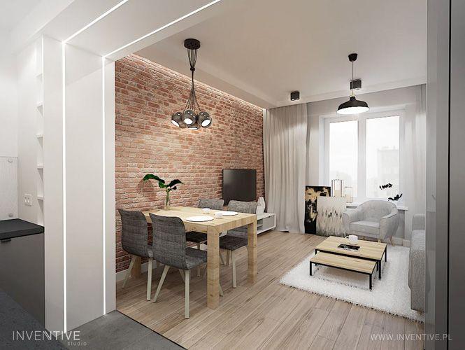 Maly Salon Z Jadalnia I Kuchnia Inventive Studio Brick Living Room Apartment Renovation Home Decor Bedroom