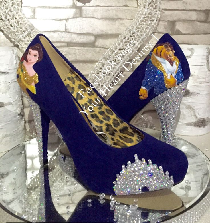 Beauty and the beast disney castle crystal heels by yourheartdesires1 on Etsy https://www.etsy.com/uk/listing/484656197/beauty-and-the-beast-disney-castle
