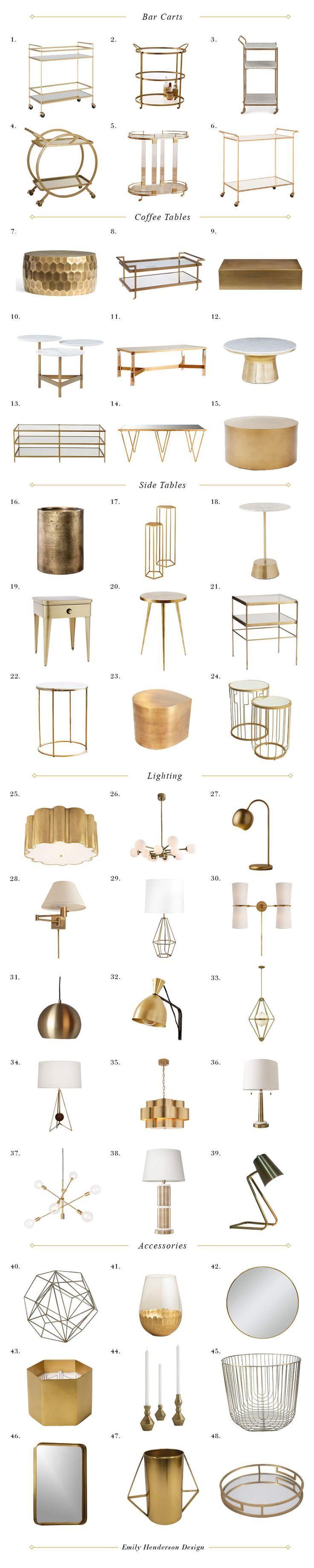 Matte Brass Decor | brass items | bar cart | brass bar carts | brass home accessories