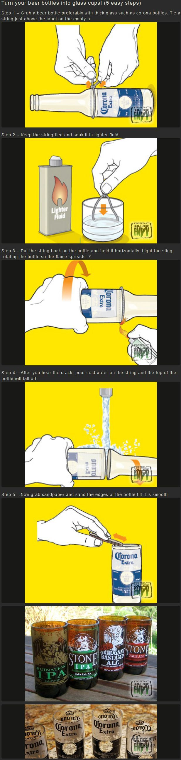 Turn you beer bottles into glass cups - http://limk.com/news/turn-you-beer-bottles-into-glass-cups-101357027/