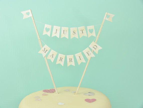 Just Married Bruant des Wedding cake cake topper par JackdawDecor