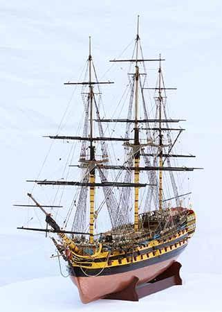 Ship model HMS Vanguard, a 74-gun ship of the line of 1787