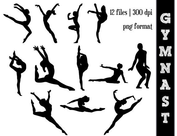 Gymnast Silhouettes // Gymnastics Silhouette // GYM Clipart // Athletic, Athlete Silhouettes