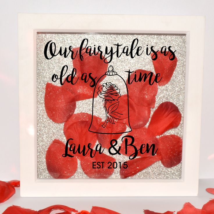 Beauty and the Beast, Personalised Shadow Frame, Personalise ,Box frame, glitter background,  Disney, Love , Anniversary, Valentines by TheCustomiseCompany on Etsy https://www.etsy.com/listing/511906241/beauty-and-the-beast-personalised-shadow