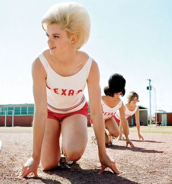 Female track athletes from Texas...love the 60's hairstyles