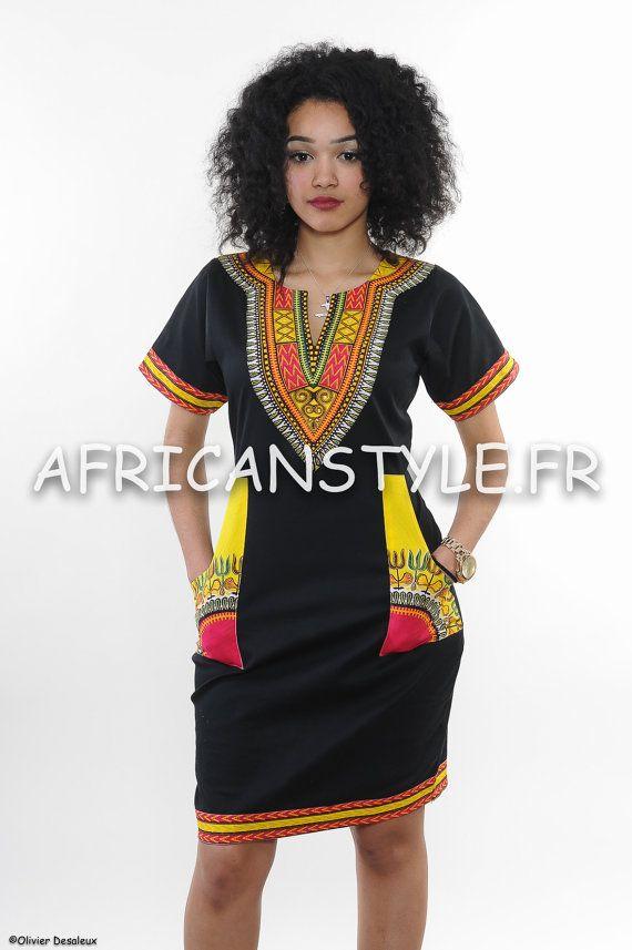 Robe Crayon noir wax addis abeba jaune par AfricanStyleAS sur Etsy