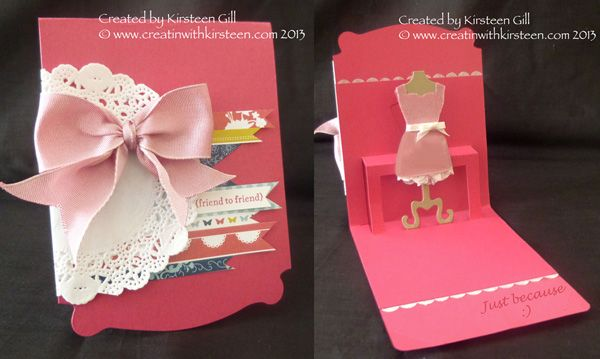 Using Stampin' Up! Exclusive Pop n Cuts Card Base and Dress Form Insert to make a simple 'Just Because' card.
