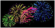 Free fireworks animation clipart for the 4th of July; pretty tiny multicolored fireworks display exploding fireworks on a transparent background.