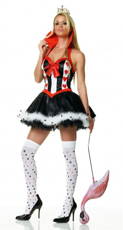 Introducing the croquet playing Queen of Hearts Sexy Adult Costume from Leg Avenue. This short-tempered and mostly villainous ruler is fun in this flirty version of the Disney Alice in Wonderland movie character. This 3 piece sexy Halloween costume set includes a crown, collared petticoat heart dress with marabou trim, and matching stockings. The leg stockings are covered in assorted card suits with a wrapping design appearance. The skirt is jet black and trimmed with marabou. The dress' top…