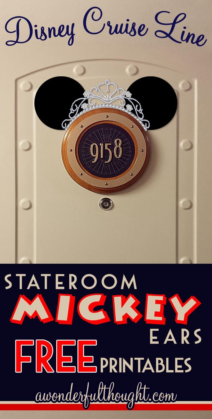 Decorate your stateroom door on Disney Cruise Line with this cute Tiara Stateroom Mickey Ears! Free to print and easy to make into a magnet for a door decoration. Get more ears at awonderfulthought.com
