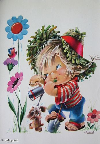 Vintage Big Eyed Boy Postcard | Flickr - Photo Sharing!